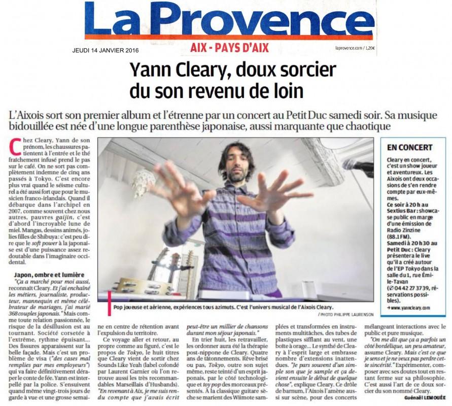 La Provence: Yann CLEARY, doux sorcier du son...