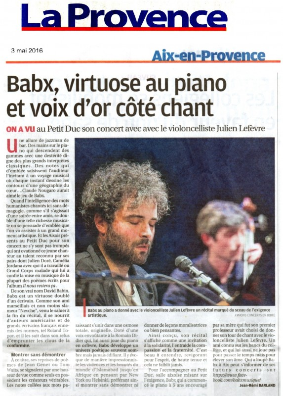 Babx, virtuose au piano et voix d'or côté chante